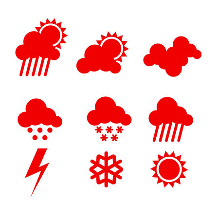 weather icons set isolaten on white background Stock Vector - 7948130