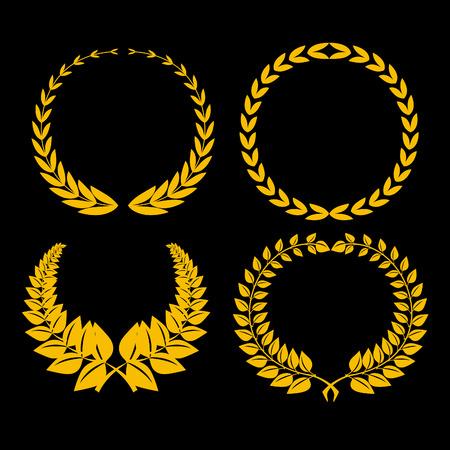 laurel: four golden laurel on black background