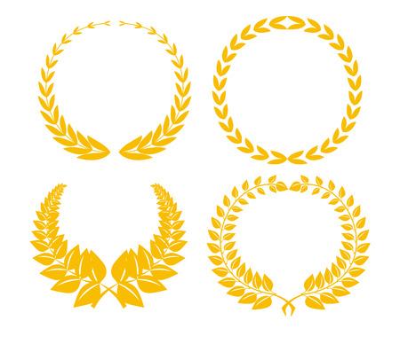 laurel leaf: Cuatro de laurel de oro de Festival, aislados en blanco  Vectores