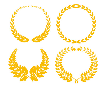 gold medal: Four golden laurel brunches isolated on white