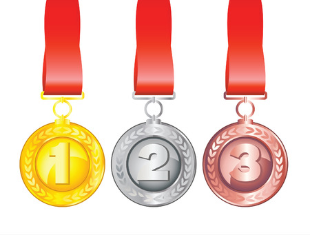 Three medals isolated on white background Vector