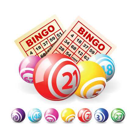 lottery win: Bingo or lottery balls and cards isolated over white