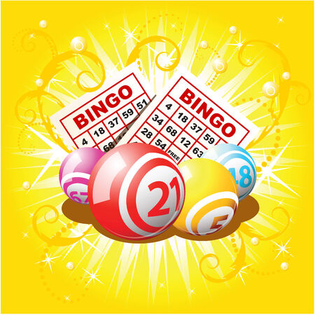 Bingo balls and cards on golden background Illustration