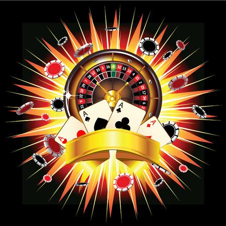 rueda de la fortuna: Ruleta, fichas y tarjetas en estallido de fondo