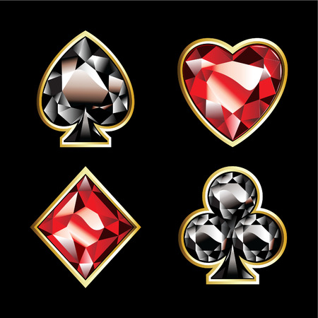 ace of clubs:  Luxury jewelry card suits on black background