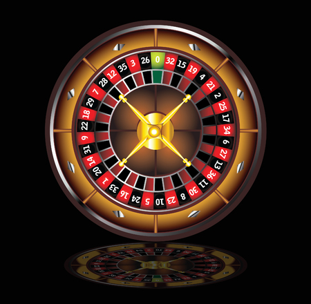 roulette table: brown roulette wheel isolated over black background