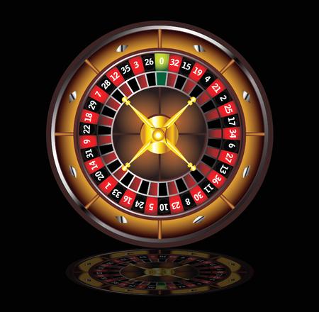 roulette: rotella di roulette marrone isolato su sfondo nero Vettoriali