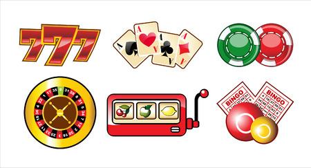 gambling chip: conjunto de iconos de casino aislados sobre fondo blanco
