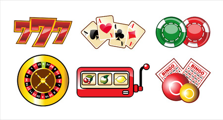 seven: set of casino icons isolated over white background