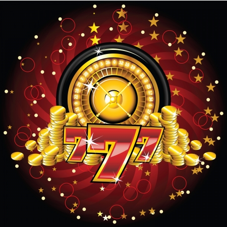 roulette wheels: golden roulette wheel with coins and sevens Illustration