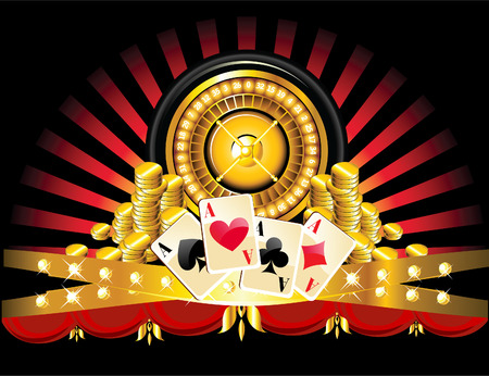 luck wheel: golden roulette wheel with coins and playing cards