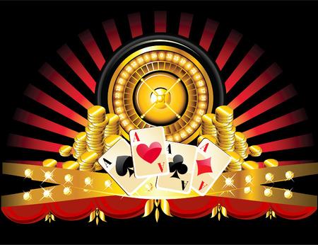 gambling chip: Ruleta dorada con monedas y tarjetas