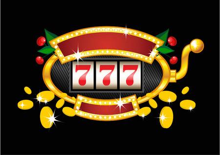 vintage golden slot machine on black background