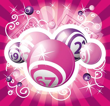 loto: boules de roses et violets bingo ou de loterie Illustration