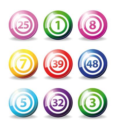 loto: jeu de boules de bingo de stylos isol� sur blanc Illustration