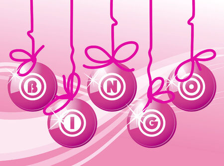 art illustration of five pink bingo balls Stock Vector - 8101277