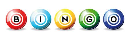 lottery: kunst illustratie van set bingo ballen geïsoleerd over white Stock Illustratie