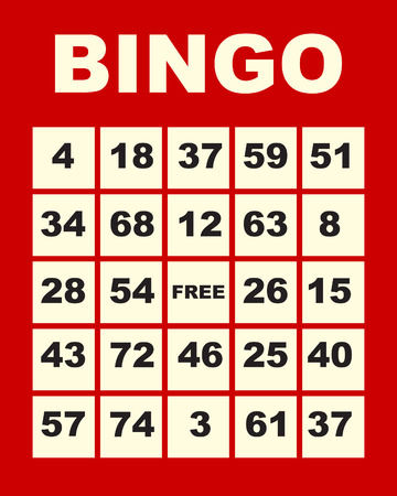 art illustration of one red bingo card