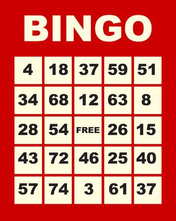 bingo: Ilustraci�n de arte de una tarjeta de bingo rojo