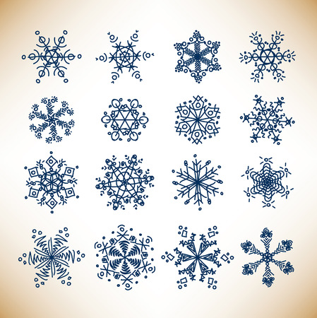 Set of vintage sketch snowflakes on old background Stock Vector - 8101299