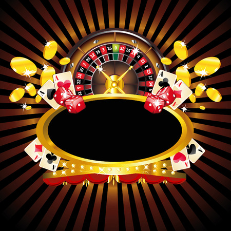 casinos: Casino gold-framed composition with roulette wheel