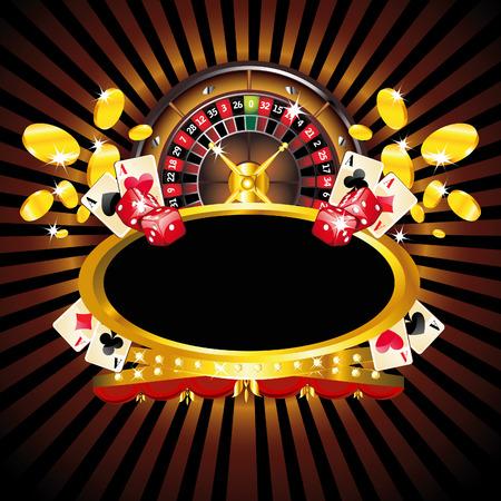 fichas casino: Composici�n enmarcada por el oro con ruleta de Casino