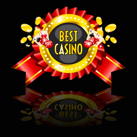 roulette wheel: casino reward with golden ring, cards, dice and coins