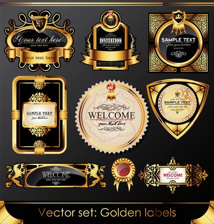 aristocrático: juego de etiquetas de armaz�n de oro negro hermosas Vectores