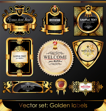 aristocratic: set of beautiful black gold-framed labels