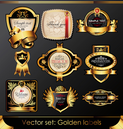 set of beautiful black gold-framed labels