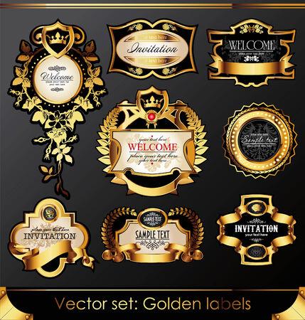 corona navidad: juego de etiquetas de armaz�n de oro negro hermosas Vectores