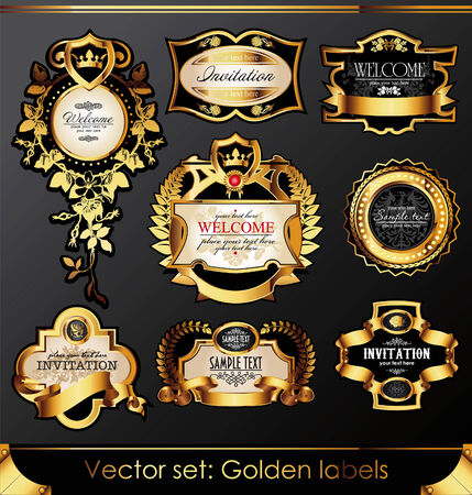 nobility: set of beautiful black gold-framed labels