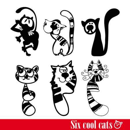 The band of six funkey cats isolated over white Vector