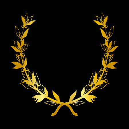 golden laurel branch on black background Vector