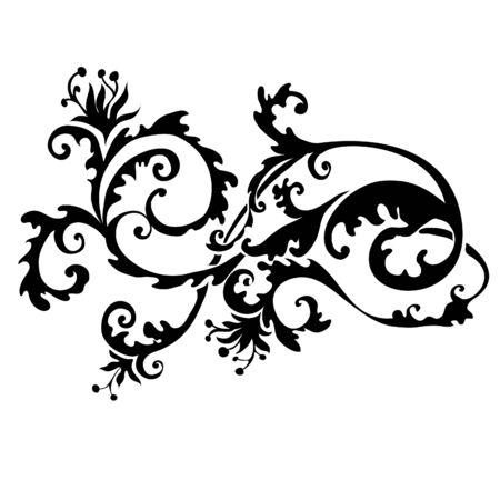 abstracta remolino floral aislada sobre blanco Ilustración de vector