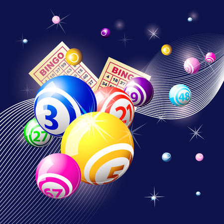 Bingo or lottery balls and cards on blue background Stock Vector - 8712050