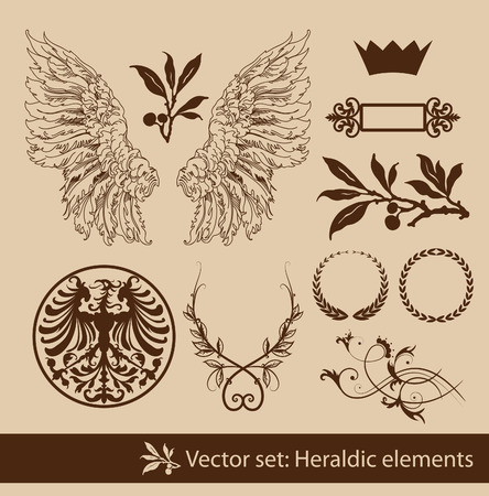 crown wings: Set of the vintage heraldic elements. Isolated.