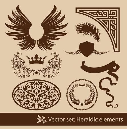 accents: Conjunto de los elementos her�ldicos vintage. Aislado.