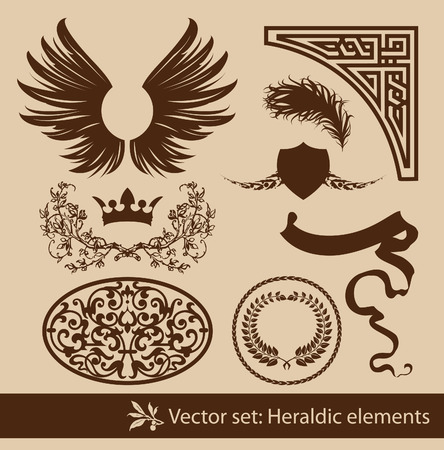Set of the vintage heraldic elements. Isolated. Vector
