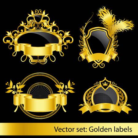 corona navidad: conjunto de las etiquetas de cosecha doradas