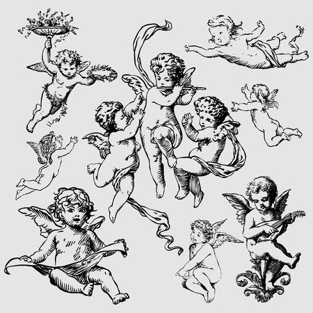 ali angelo: insieme di vari angeli o amorini. isolato Vettoriali