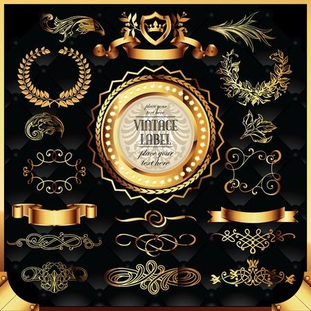 corona navidad: conjunto de vectores de las etiquetas de oro y elementos decorativos de páginas