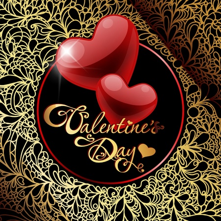 valentine's day card with hearts Vector