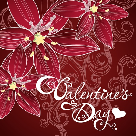 valentine's day card with lilly Vector