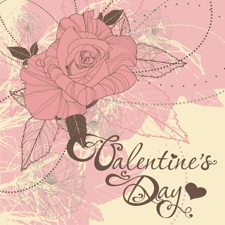 valentine's day card with roses Stock Vector - 12026708