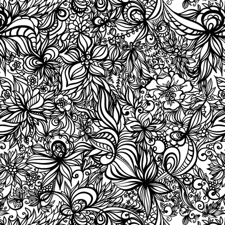 black and white line drawing: beautiful seamless pattern with swirls