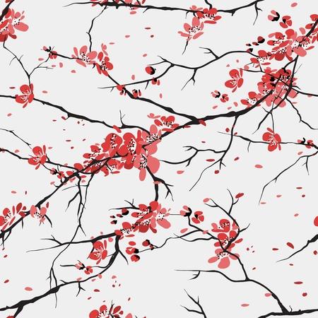 flor de sakura: de fondo sin fisuras patrón de cerezo o sakura Vectores
