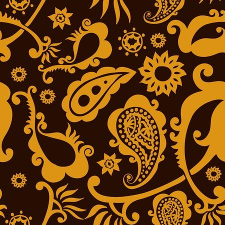 magnificence: beautiful golden paisley seamless pattern background Illustration