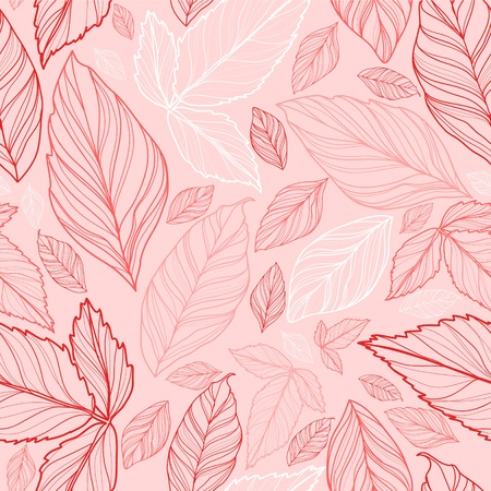 black branch: vector seamless pattern with leaves