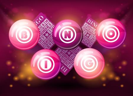 bingo: Bingo bolas en fondo brillante de color rosa